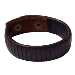 Men Style New Design  Brown  Leather Reactangle Bracelet For Men And Boy