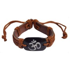 Men Style Om  Brown Men Style Om   Leather Square Bracelet For Men And Boy