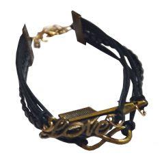Men Style Multi Design  Black  Leather Geomertic Bracelet For Men And Boy