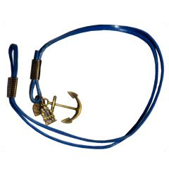 Men Style New Design  Blue  Leather Anchor Bracelet For Men And Boy
