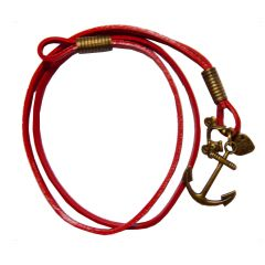 Men Style New Design  Red  Leather Anchor Bracelet For Men And Boy