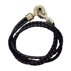 Men Style High Quality Stainless Steel Double Braided Black Leather Bracelet For Men And Women