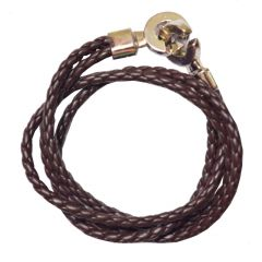 Men Style Super Quality Stainless Steel Double Braided Brown Leather Bracelet For Men And Women