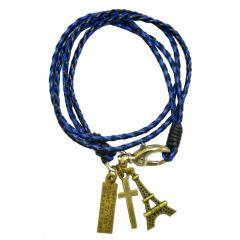 Men Style New Arrival Real Leather Handmade Braided   Blue  Leaher Bracelet For Men SBr04004