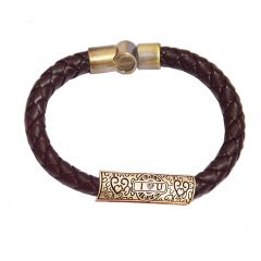 Men Style New Design Leather Braided Bracelet Brown Leather Bracelet For Men SBr05017