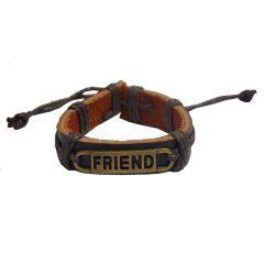 Men Style New Friend Alphabet  Black  Faux Leather Round Bracelet For Men And Women