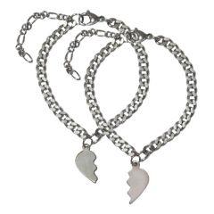Men Style 2 Charm Broken Heart Couples Love Heart With Link Bracelet Best Gift For Lovers Silver Heart Bracelet
