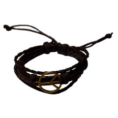 Men Style Handmade Peace Symbol Leather Alloy Charm Bracelets With Lace Up Brown Leather Peace Bracelet