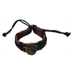 Men Style Handmade Yin Yang Inspired Leather Zinc Alloy Charm Black Leather Circle Bracelet