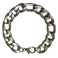 Men Style Best Selling Gents -Flat-Curb-Chain-Super-Mens Silver Stainless Steel Link Bracelet
