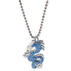 Men Style Sliver   316L stainless steel  blue dragon  Pendent