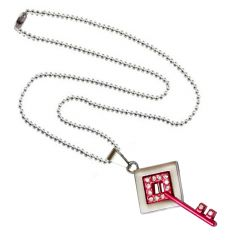 Men Style Crystal Key  Pink  Alloy Key Necklace Pendent For Men And Women SPn011003
