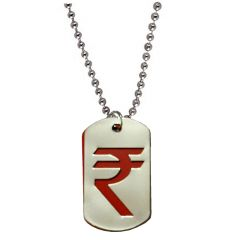 Men Style Rupees Sysmbol  Red And Silver  Stainless Steel Square Necklace Pendent For Men And Women SPn011006