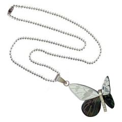 Men Style Butterfly  Black And Silver  Stainless Steel Butterfly Necklace Pendent For Men And Women  SPn011007