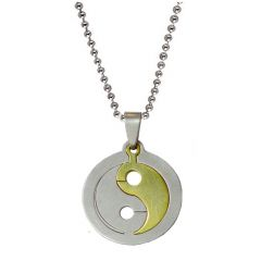 Men Style Yin Yang  Gold And Silver  Stainless Steel Circle Necklace Pendent For Men And Women SPn011008