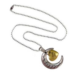 Men Style I Love You To The Moon And Back   Gold And Silver  Alloy Two Tone Necklace Pendent For Men And Women  SPn011016
