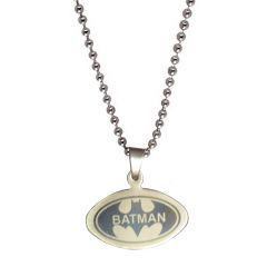 Men Style Batman Inspired  Silver  Stainless Steel Oval Pendent For Men And