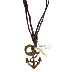 Men Style Cross AnchorAdjustable  Brown  Leather Anchor Pendent For Men An