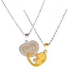 Men Style New Love Couple His And Hers Necklace For Lovers  Love  Gold -Sil