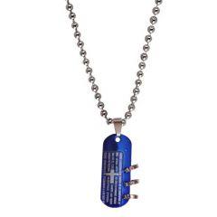 Men Style New Design Jesus Cross Blue Stainless Steel Pendent For Men
