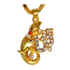 Men Style  Crystal Om Ganesh  Gold  Alloy  Pendent For Men And Women
