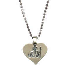 Men Style Stylish Heart Allah Letters Plated  Silver  Stainless Steel Heart Pendent For Men SPn04007