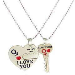 Men Style New Design Couple Key Heart I Love You With Key Pendant For Men & Women- SPn04008