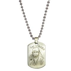 Men Style Shirdi Sai Baba Plated  Silver  Stainless Steel Sqaure Pendent For Men SPn04011