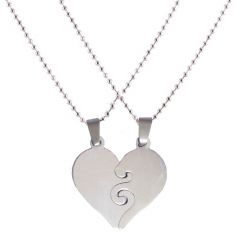 Men Style New Arrvial Couple Heart Love  Silver  Stainless Steel Pendent For Men And Women SPn04032