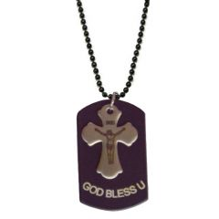 Men Style God Bless U Jesus Cross  Black  Alloy Square Pendent For Men And Women SPn04033