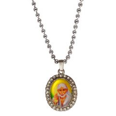 Men Style Crystal Blessing Shirdi Sai Baba  Yellow  Alloy Oval Pendent For Men And Women SPn05027