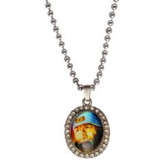 Men Style Crystal Shirdi Sai Baba Face  Multicolor  Alloy Oval Pendent For Men And Women SPn05029