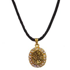 Men Style  Cotton Dori Chain  Gold  Alloy Oval Pendent For Men And Women SPn05073