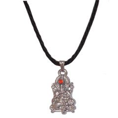 Men Style Crystal Shri Ganesh With Cotton Dori Chain  Silver  Alloy 00 Pendent For Men And WomenSPn05078