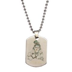 Men Style  Loard God Shri BalKrishna   Silver  Stainless Steel Square Pendent For Men And Women SPn05087