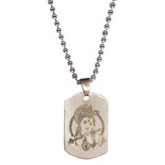 Men Style God Loard Shri Krishan  Silver  Stainless Steel Sqaure Pendent For Men And Women SPn05088