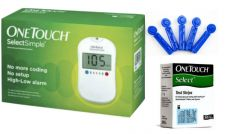 Johnson & Johnson One Touch Select Glucometer With 50 Strips & 100 Lancets