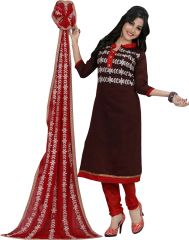 Stylish Fashion Latest Designer Brown Neck Embroidered Straight Suit-SFP18-2072