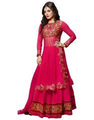 Surat Tex Anarkali Suits (Unstitched) - Surat Tex Pink Net & Georgette Semi-stitched Anarkali-g38dl907ra