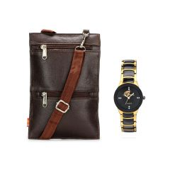 Women's Watches - Arum Brown Sling Bag With Golden  Watch ASBW-014