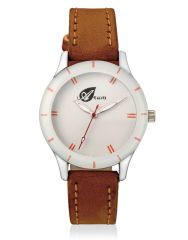 Arum Analog White Dial With Brown Leather Strap