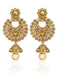 Arum latest designer stylish Flora Golden Jhumki Earrings With Pearl