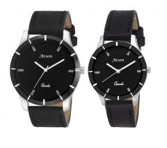 Watches - Arum Trendy Black Watch For Couple