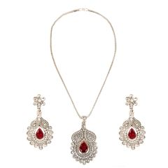 Arum Designer Floral Silver Pendant Set With Changeable Stones