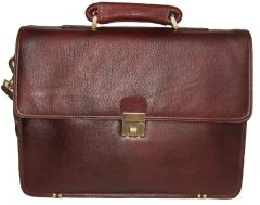 PE 17 inch 100% Genuine Leather Laptop Messenger Bag