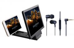 3d Folding Hd Screen Magnifier & Sony Oem Mh-750 Stereo Headset With Mic - Mobile Accessories