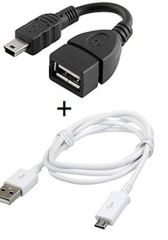 Fliptech Fast Charging Data Cable with OTG Cable for Mobile Phones / Smartphones / Tablets / Phablets & All Other Various Micro USB Pin Cellphones