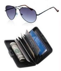 Buy 1 Get 1 Free - Black Aviator Sunglasses & Aluminium Wallet