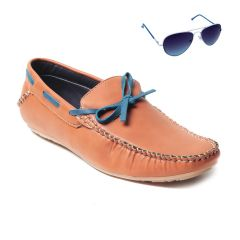 Blue-Tuff Mens Leather Shoes With Sunglass- BT-501-TAN-Sunglass-spring-Blue