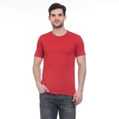 Blue-Tuff Cotton Multi Trending Plain Round Neck T-shirt- Red